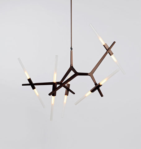 Chandelier - 10 Lights (Bronze/Straight-cut glass)