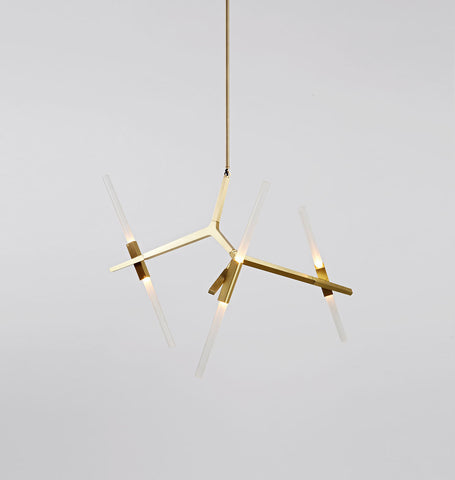 Chandelier - 6 Lights (Brushed brass/Straight-cut glass)