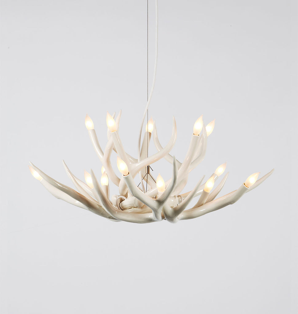 Chandelier 10 Antlers White