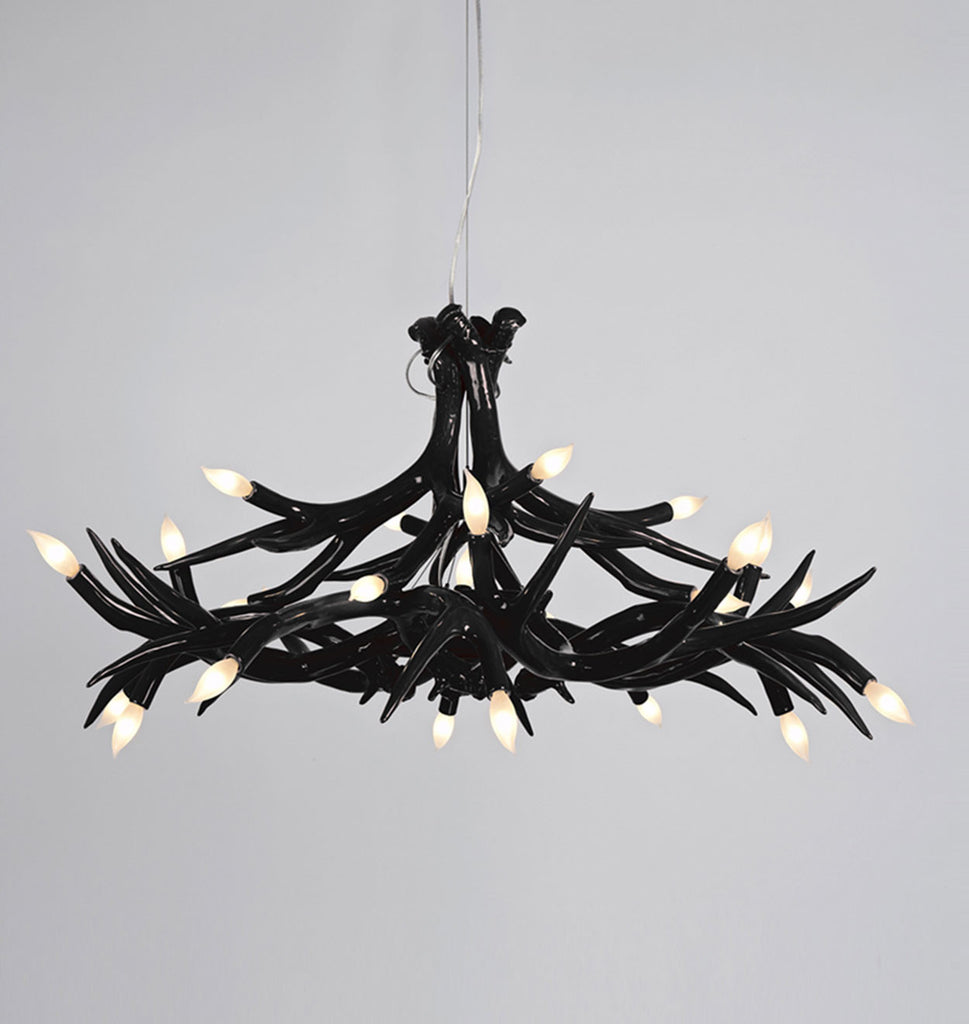 Superordinate antler roll hill chandelier 12 antlers black mozeypictures Image collections