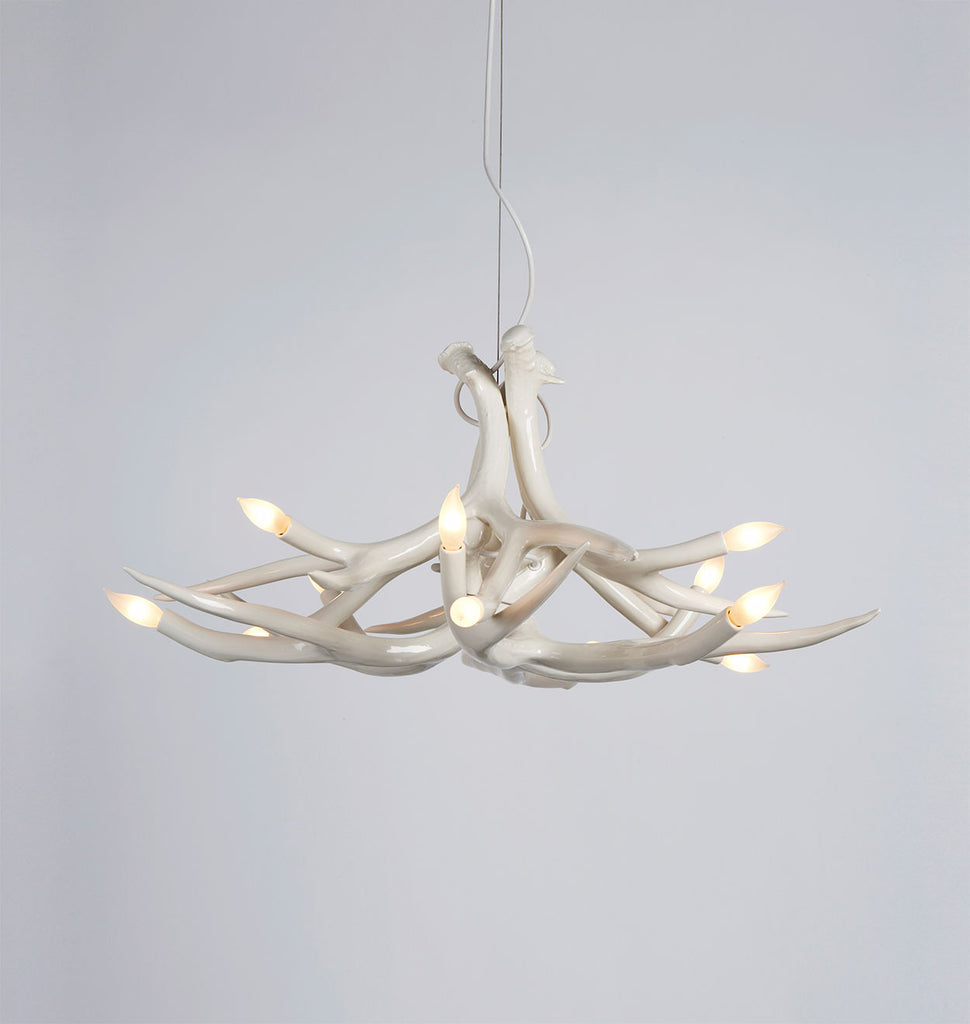 Superordinate antler roll hill chandelier 6 antlers white mozeypictures Image collections