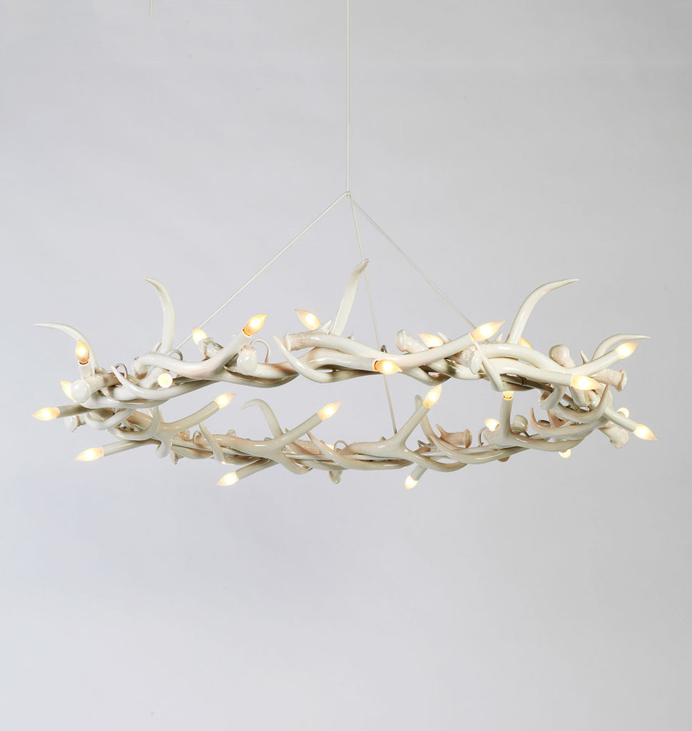 Superordinate antler roll hill chandelier 27 antler ring white mozeypictures Image collections