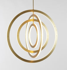 Chandelier - Vertical, 4 Rings (Brushed brass)