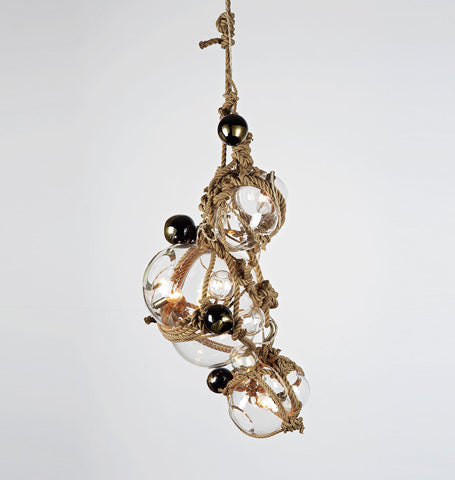 Chandelier - 1 Lg, 2 Sm Bubbles, 5 Barnacles (Khaki/Clear)