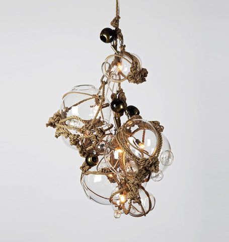 Chandelier - 3 Lg, 2 Sm Bubbles, 5 Barnacles (Khaki/Clear)