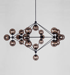 Chandelier - 6 Sided, 21 Globes (Black/Smoke)