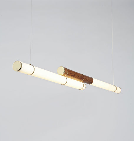 Double Pendant - 89 inches (Polished brass/Stained oak)