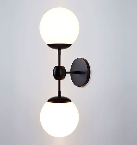 Sconce - 2 Globes (Black/Cream)