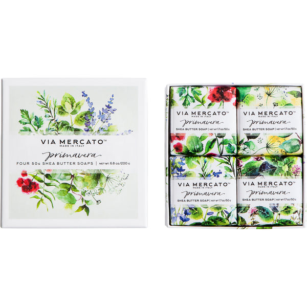 Wholesale Via Mercato Primavera Gift Set (4X50G Soap) - Fresh Herbs - European Soaps