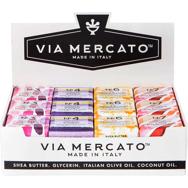 Wholesale Mini Soaps - Via Mercato 50G Assorted Pack 3, 4, 6, 7, Display - European Soaps