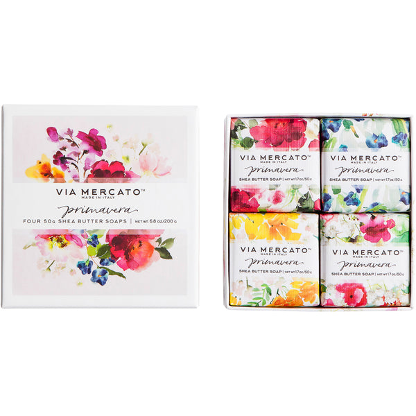 Wholesale Via Mercato Primavera Gift Set (4X50G Soap) - Spring Flowers - European Soaps
