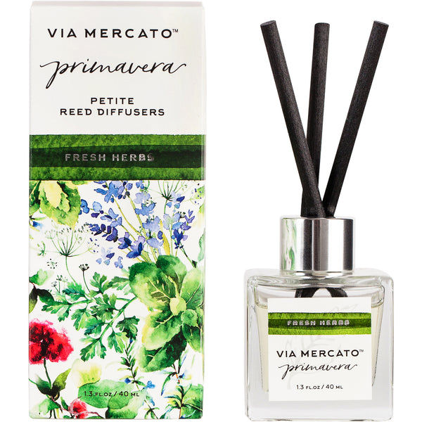 Wholesale Via Mercato Primavera Petite Reed Diffuser - Fresh Herbs - European Soaps