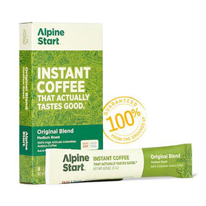 Alpine Start instant coffee. Original Blend. Front image. Similar to Starbucks, Waka, Nescafe. Coffee that tastes good.