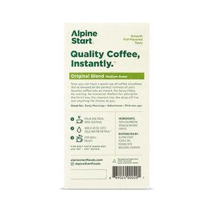 Alpine Start instant coffee. Original Blend. Back image, product nutrition facts. Starbucks, Waka, Nescafe.