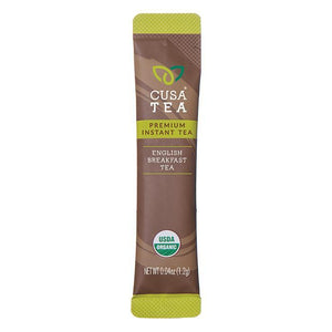 Cusa Tea premium instant tea. English breakfast single serve packet. RacedayFuel Canada.