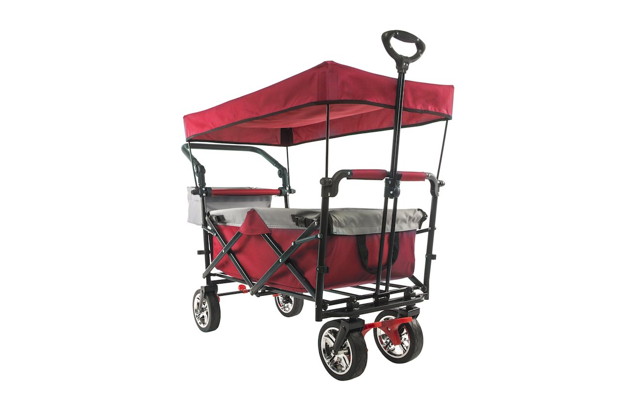 folding wagon 2.0 red with canopy installed shown at angle