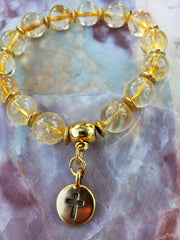 Citrine Crystal Quartz  Bracelet with cross