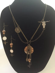 Landscape Jasper Donut Necklace and Earring Set