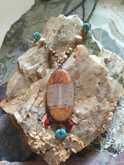 Agate - Turquoise - Coral and Jasper Necklace