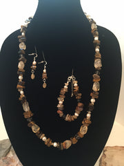Citrine Quartz, Tigerseye and Pearl Necklace with Bracelet and Earring Set