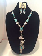 Magnesite/Howlite Necklace and Earring Set