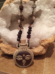 Buddha Peruvian Ceramic Bottle Necklace - Garnet and Rose Quartz