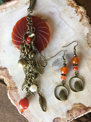Carnelian Quartz Donut Necklace Set