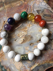 Seven Chakra Bracelet with Natural Howlite