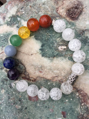 Seven Chakra Bracelet with Natural Crackle Quartz Crystals