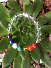 Seven Chakra Bracelet with Natural Clear Quartz Crystals