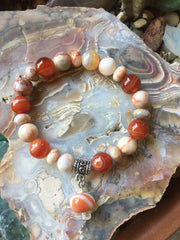 Agate, Red Line Marble and Clear Quartz Bracelet
