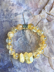 Citrine Crystal Quartz  Bracelet with Crystal Points