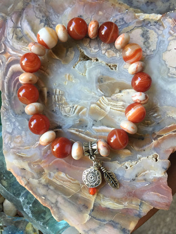 Agate and Red Line Marble Bracelet