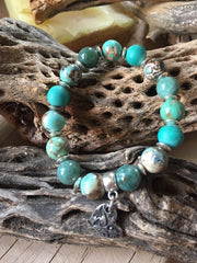 Agate, Dragon Blood Jasper and Natural Turquoise bracelet