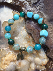 Agate and Natural Turquoise bracelet
