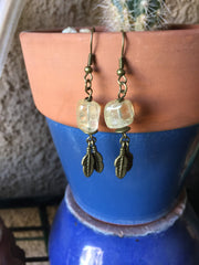 Citrine Quartz and metal feather Earrings
