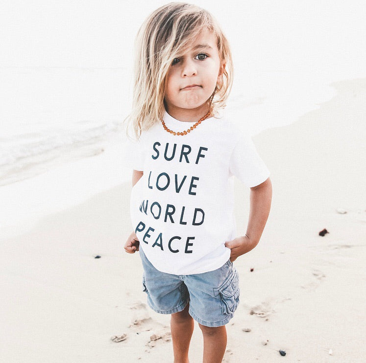 Kids Organic Surf Love World Peace Tee