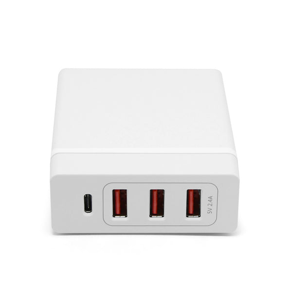 White usb and usb-c charging station laying down