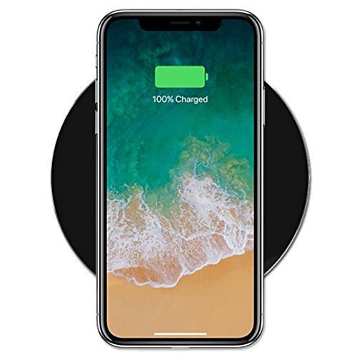 RNDs Fast Charge Wireless Charging Pad for Apple iPhone (8, 8 Plus, X, 10), Samsung Galaxy (S8, S8 Plus, S7, S6), Note 8, LG (G6, V30) and other QI Enabled Devices (AC Adapter NOT included)