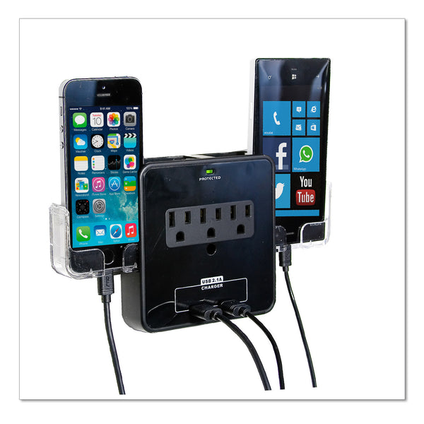Wall Power Station includes 3 AC Plugs and 2 USB ports with Surge Protection and 2 slide-out holders for your smartphone by RND Power Solutions - RND Power Solutions - 6