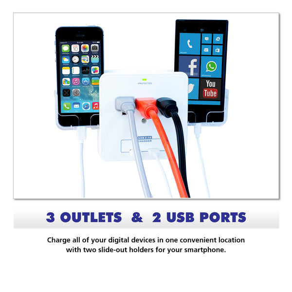 Wall Power Station includes 3 AC Plugs and 2 USB ports with Surge Protection and 2 slide-out holders for your smartphone by RND Power Solutions - RND Power Solutions - 2