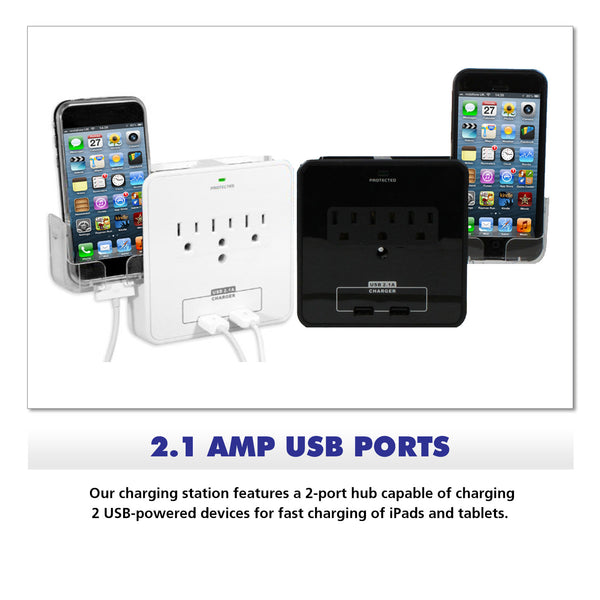 Wall Power Station includes 3 AC Plugs and 2 USB ports with Surge Protection and 2 slide-out holders for your smartphone by RND Power Solutions - RND Power Solutions - 3