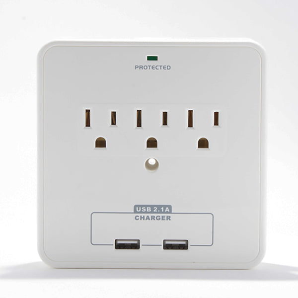 Wall Power Station includes 3 AC Plugs and 2 USB ports with Surge Protection and 2 slide-out holders for your smartphone by RND Power Solutions - RND Power Solutions - 5