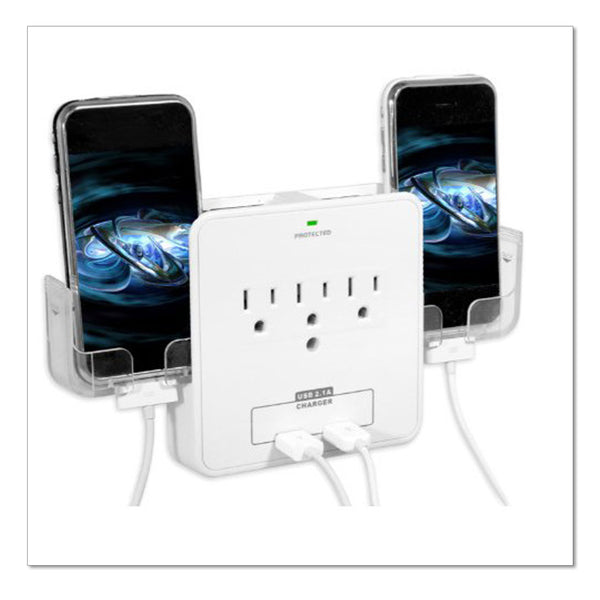 Wall Power Station includes 3 AC Plugs and 2 USB ports with Surge Protection and 2 slide-out holders for your smartphone by RND Power Solutions - RND Power Solutions - 1