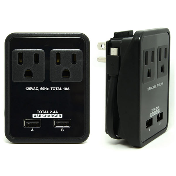 Compact Power Station 2.4 Amp Dual USB Ports, 2 AC Outlet Wall Charger with an attached 7 inch Micro USB cable by RND - RND Power Solutions - 1