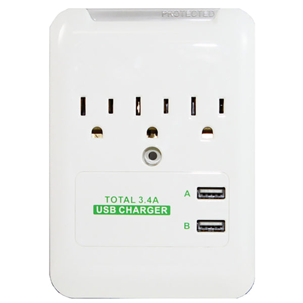 RND 3.4 Amp charging station with 3 AC outlets and 2 USB ports