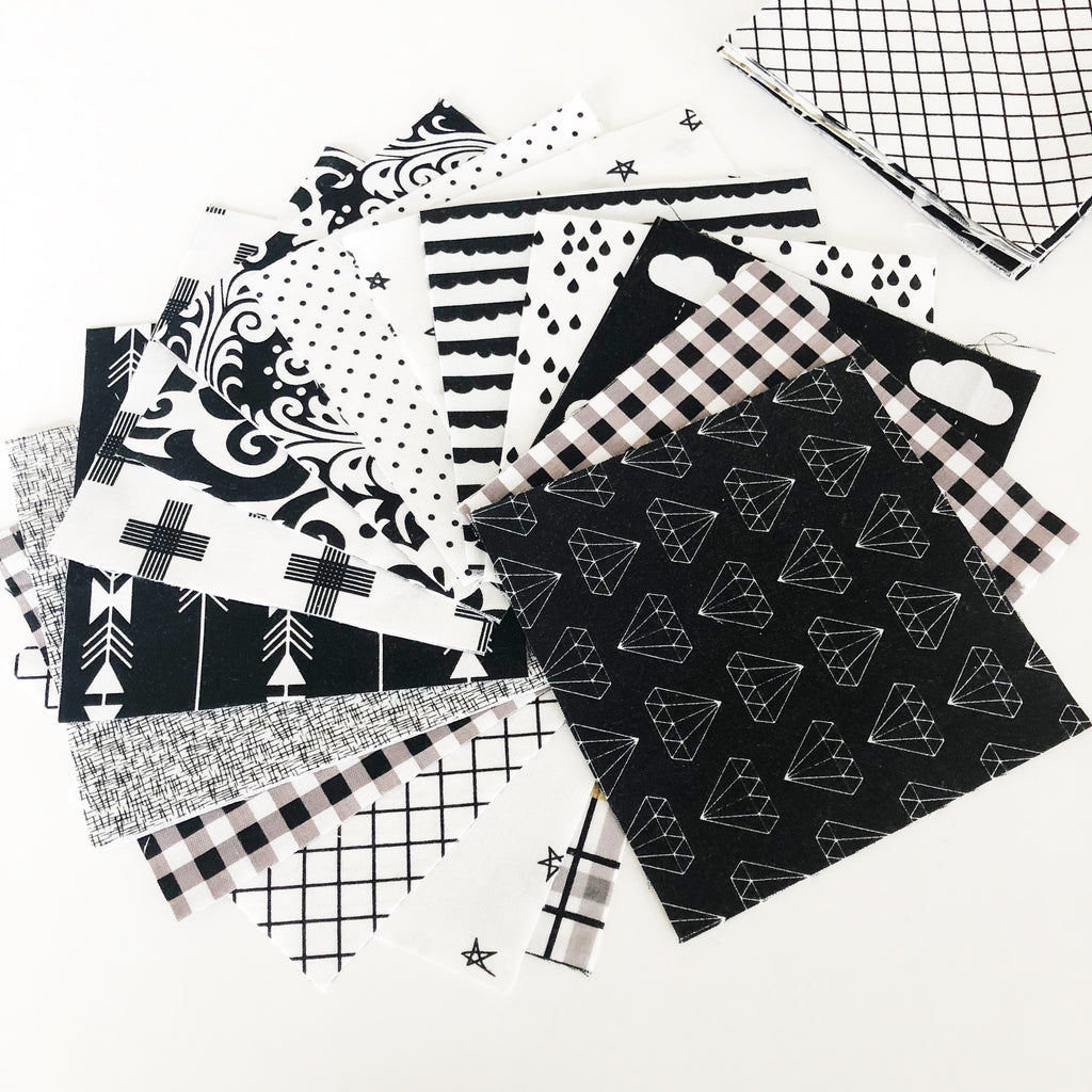 "FABRIC (Precut): 100 Precut 5"" Squares (Black and White)"