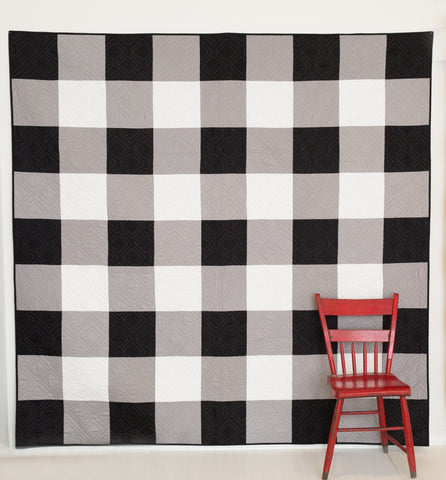 KIT (Quilt): Black and White Gingham Quilt
