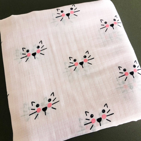 FABRIC:  (Double Gauze) 1 Yard Cat Face on Pink