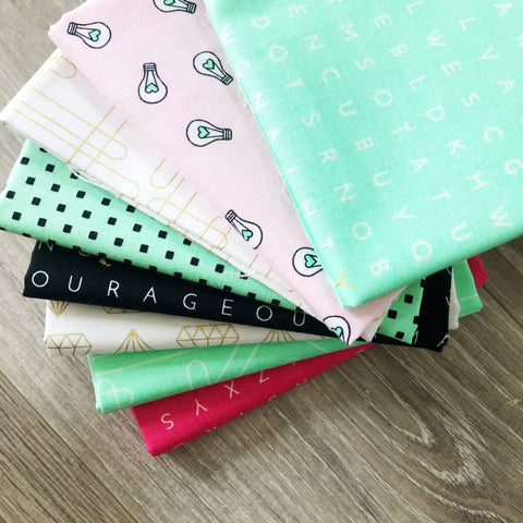 FABRIC (Fat Quarter Bundle):  Shine Bright (All 3 Word Search Prints in 1 bundle)